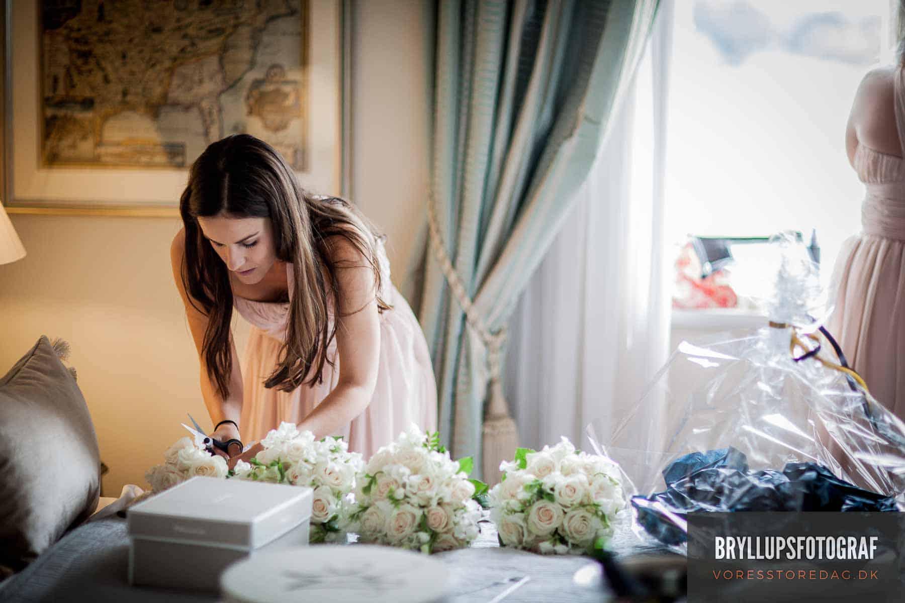brudepige og brudebuketter