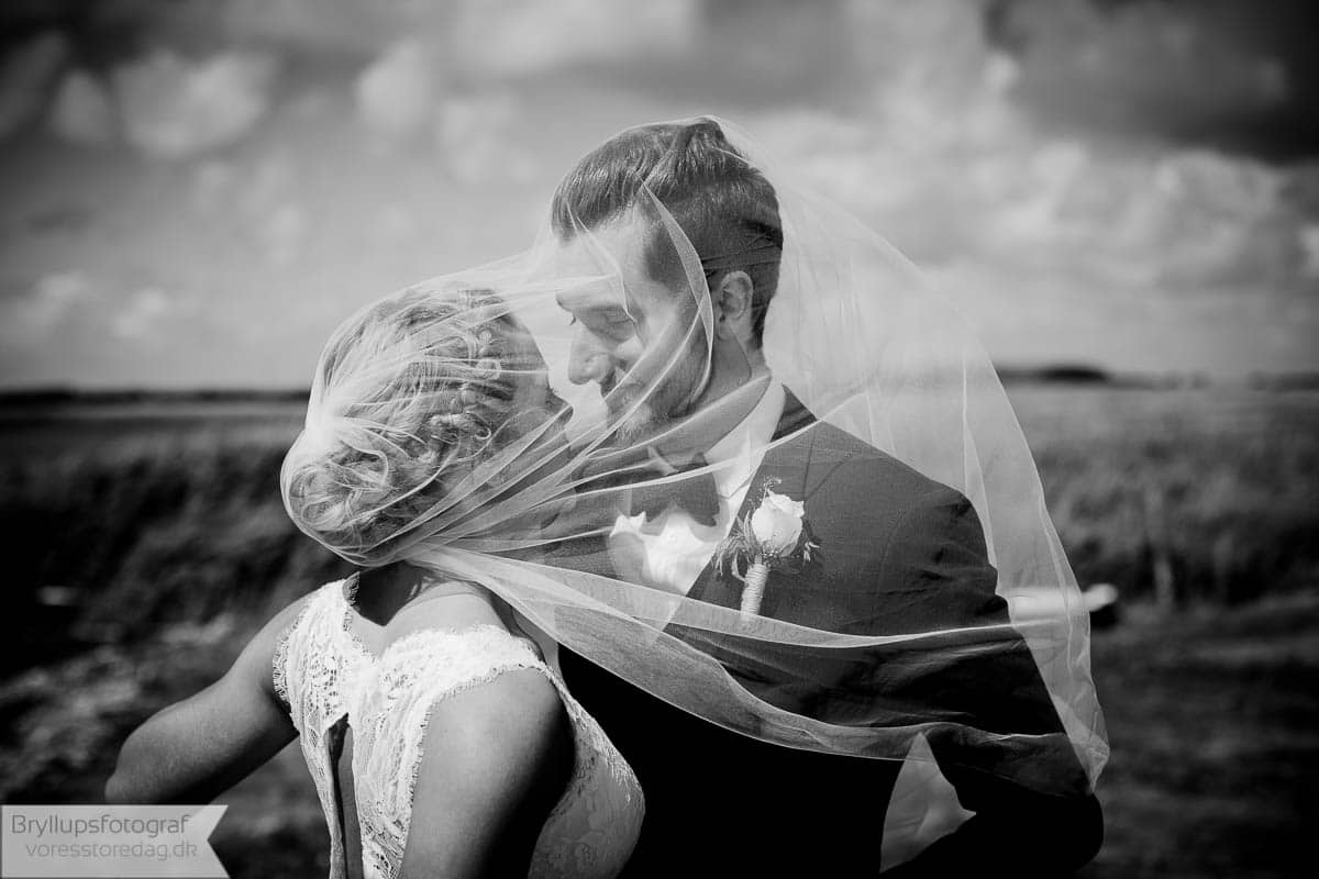 sort / hvid bryllupsfoto