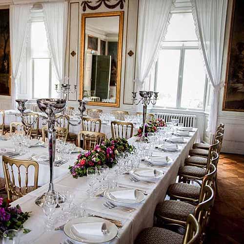 bordet pyntet på Lykkesholm slot
